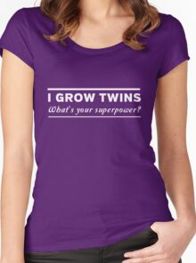I grow twins, what's your superpower Women's Fitted Scoop T-Shirt