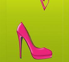Stylish pink shoe for her, monogram V by Monartcanadian