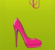 Stylish pink shoe for her, monogram U by Monartcanadian