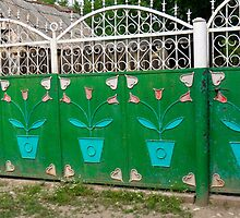 Eastern European Flowers n' Hearts Fence by Megan Nicole