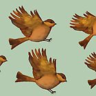 Vintage poster - golden birds in flight by bardenne