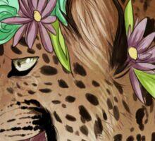 Flower Crown Leopard Sticker
