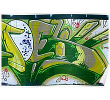 Abstract Graffiti Art fragment in Green Poster
