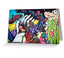 Hallucinogenic Graffiti Art.Back to sixties Greeting Card