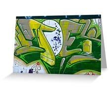 Abstract Graffiti Art fragment in Green Greeting Card