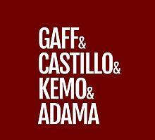 Gaff & Castillo & Kemo & Adama (red) by olmosperfect