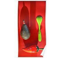 Avocado. pepper, fork Poster