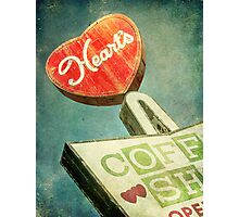 Heart's Coffee Shop Vintage Sign Photographic Print