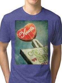 Heart's Coffee Shop Vintage Sign Tri-blend T-Shirt