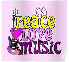 Peace love and music hippie summer of love Poster