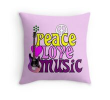 Peace love and music hippie summer of love Throw Pillow