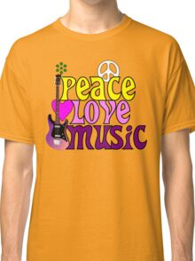 Peace love and music hippie summer of love Classic T-Shirt