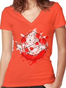 Ghostbusters Logo Paint Splatter Outline Women's Fitted V-Neck T-Shirt