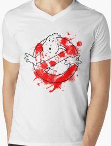 Ghostbusters Logo Paint Splatter Outline Mens V-Neck T-Shirt