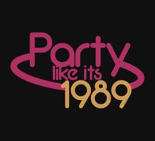 PARTY like it's 1989 retro funky 80's fluro light design by jazzydevil