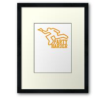 PARTY HARDER! with dead coroner murder outline and a beer glass Framed Print