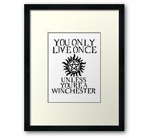 Supernatural - You Only Live Once Framed Print
