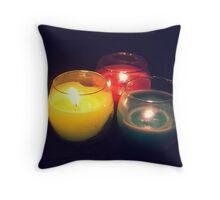 3 Colour Candles Throw Pillow