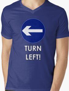TURN LEFT! Mens V-Neck T-Shirt