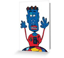 Goalkeeper, football, yellow, sport, monster, comic, children Greeting Card