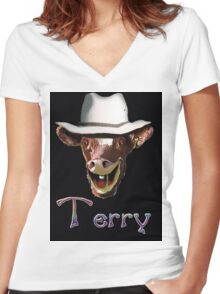 TERRY Women's Fitted V-Neck T-Shirt