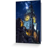 Top of the Liver Building tower in Liverpool Greeting Card