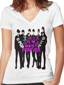 ♥♫I Love B2ST Forever Splendiferous K-Pop Clothes & Stickers♪♥ Women's Fitted V-Neck T-Shirt