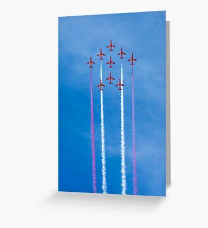Red Arrows vertical flight Greeting Card