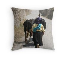 Herding Cows Down a Road in Cotacachi Throw Pillow