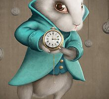 white rabbit with clock by jordygraph
