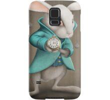 white rabbit with clock Samsung Galaxy Case/Skin