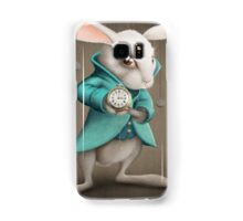 white rabbit with clock Samsung Galaxy Case/Skin