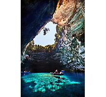Boat ride in Melissani cave-lake Photographic Print
