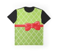 Ribbon, Bow, Moroccan Trellis - Green White Red Graphic T-Shirt