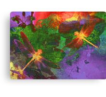 Painting Dragonflies & Flowers Canvas Print