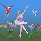 Ballet Fantasy, Flowers, Parrot, Butterfly  by Delores Knowles
