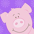 Happy Pig iPhone Case - Purple by JessDesigns