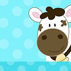 Happy Cow with Teal dots by JessDesigns