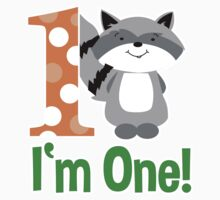 Raccoon I'm One First Birthday shirt - Orange Kids Tee