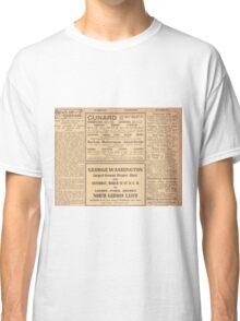 1912 Titanic return voyage newspaper advert clipping circled Classic T-Shirt