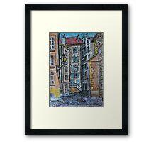 Watercolor Sketch - Genève, Old Town, Rue de Saint-Germain from Rue des Grandes.  Framed Print