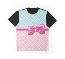 Ribbon, Bow, Moroccan Trellis - Blue White Pink Graphic T-Shirt