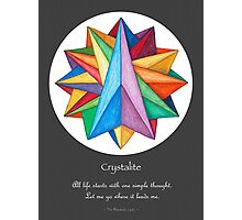 Crystalite Mandala Print - grey background w/msg Photographic Print