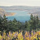 "Original Acrylic River Landscape painting - ""View From Above"" by Karen Ilari"