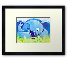 Photographer - Rondy the Elephant with photo camera Framed Print