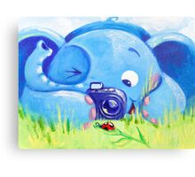 Photographer - Rondy the Elephant with photo camera Canvas Print