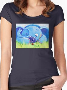 Photographer - Rondy the Elephant with photo camera Women's Fitted Scoop T-Shirt