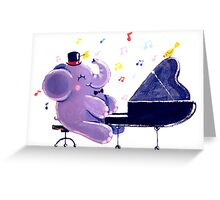 Piano Player - Rondy the Elephant playing the piano Greeting Card