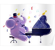 Piano Player - Rondy the Elephant playing the piano Poster