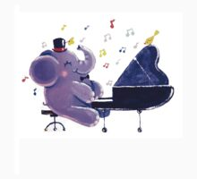 Piano Player - Rondy the Elephant playing the piano Kids Clothes